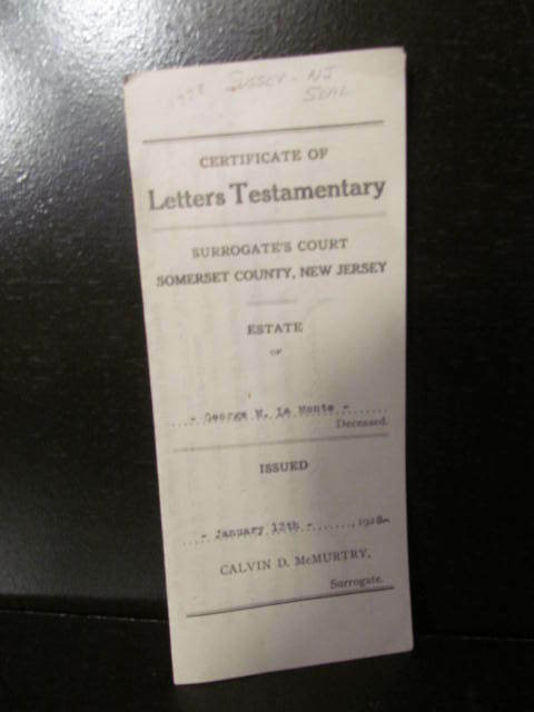 Certificate of Letters Testamentary 1928 State of New ...