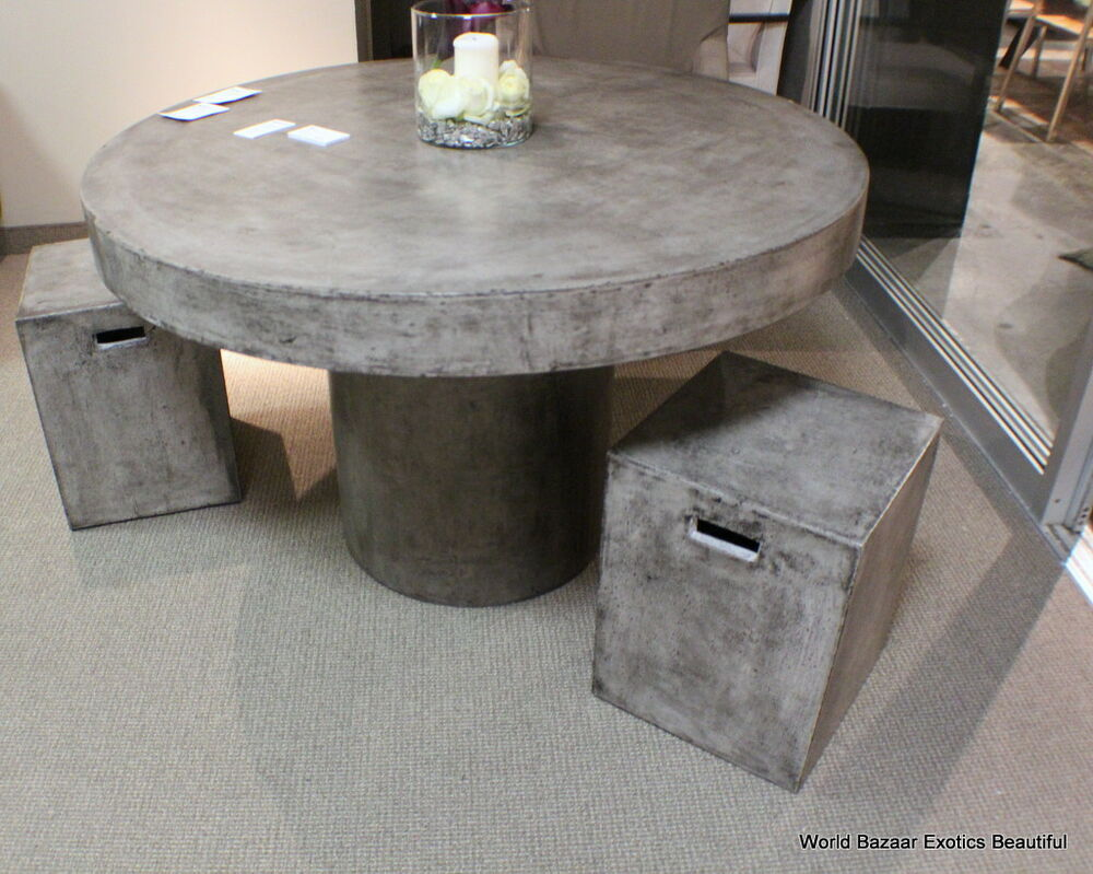 48quot Round dining table solid concrete cement modern sealed  : s l1000 from www.ebay.co.uk size 1000 x 799 jpeg 124kB