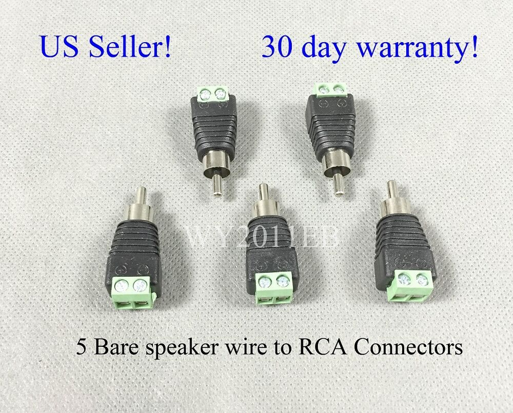 5 Bare Speaker Wire Cable To Rca Connectors Plugs Fit Bose