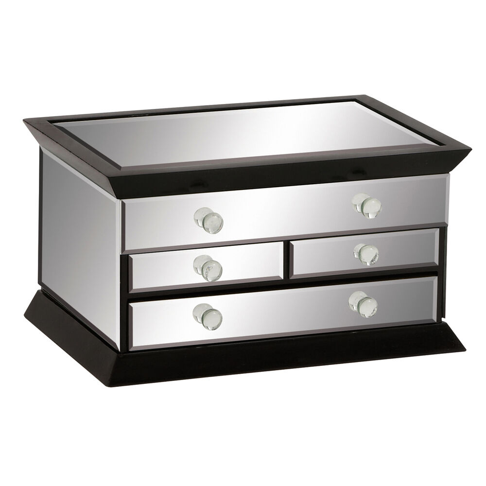 Legacy black noir mirrored glass 3 drawer jewelry box ebay for Mirror jewellery box