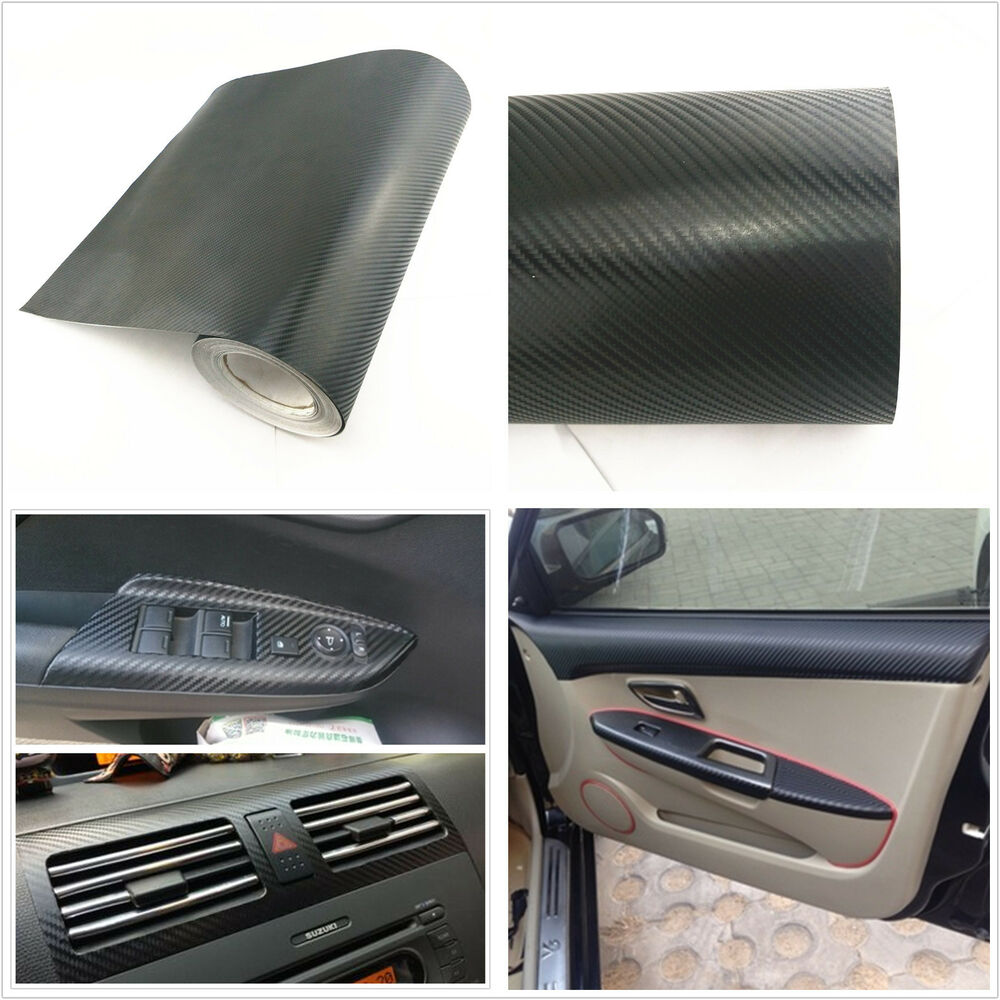 Auto Interior Accessories Interior Panel Black Carbon Fiber Vinyl Wrap Sticker Ebay