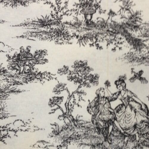 black french toile de jouy curtain fabric 100 cotton vintage shabby chic style ebay. Black Bedroom Furniture Sets. Home Design Ideas