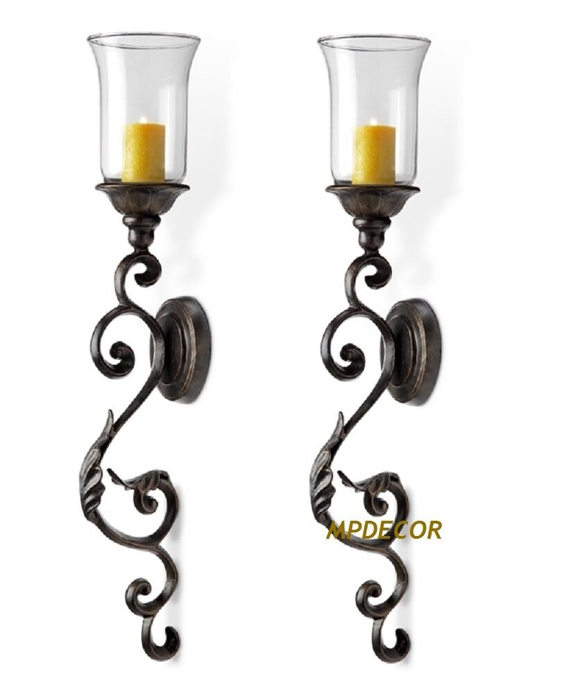 Tuscan Scroll Leaf Wall Sconce Candleholder Hurricane