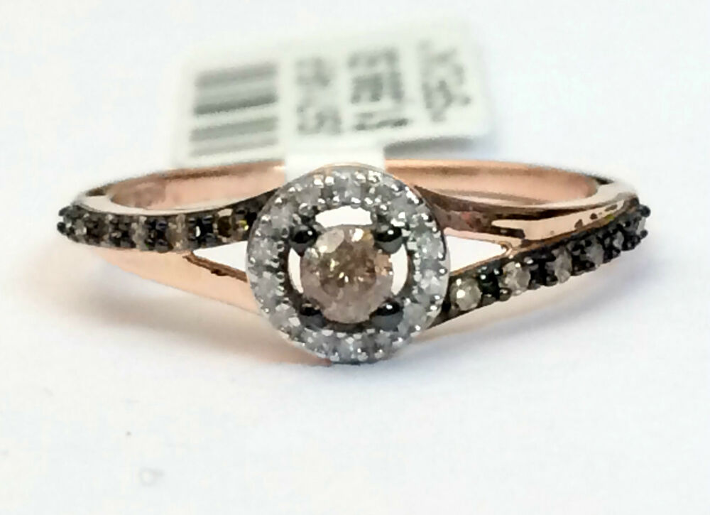Champagne Diamond 14k Rose Gold Halo Engagement Ring Bridal Vintage Split Sna