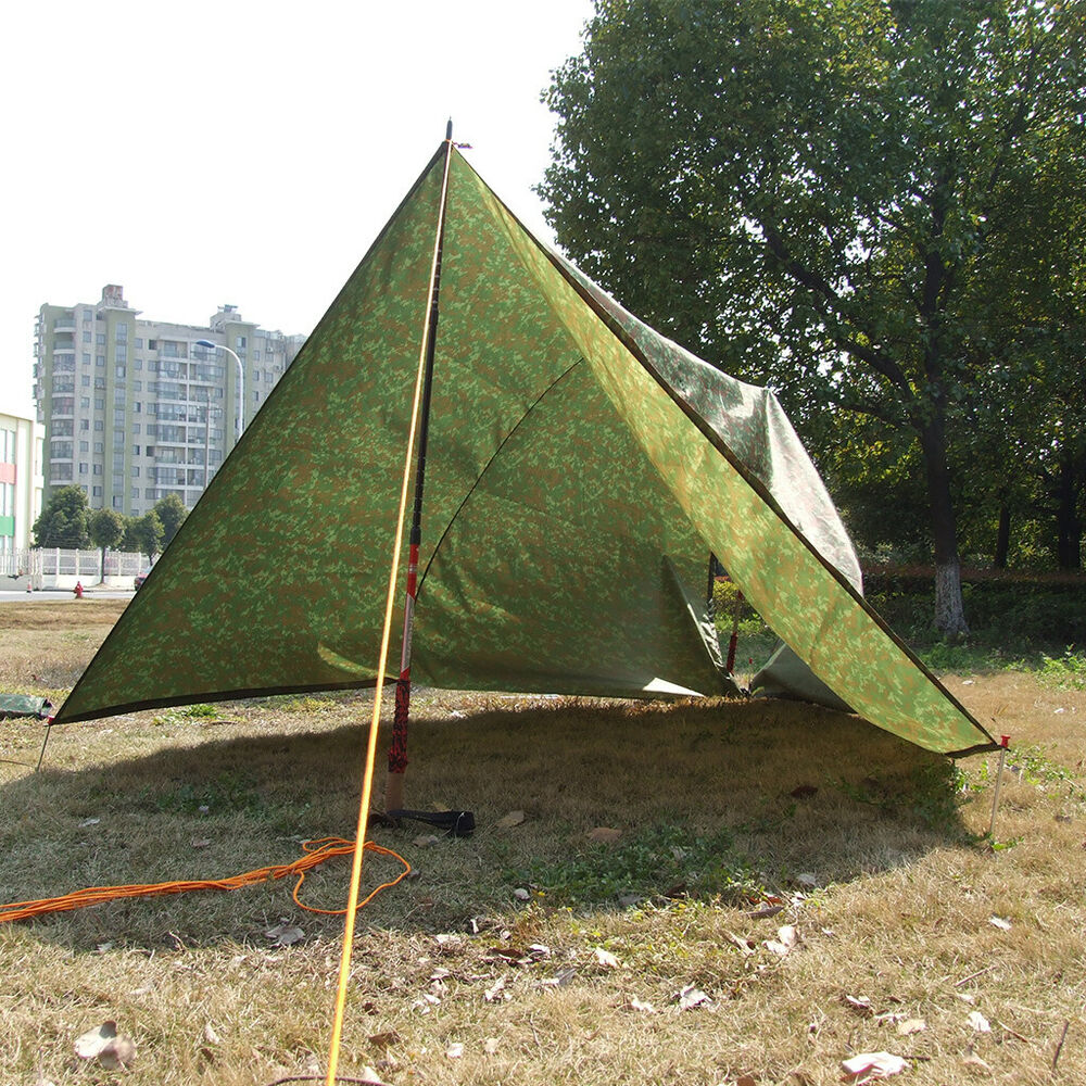 large waterproof military camping tarp awning trail tent shelter rain cover ebay. Black Bedroom Furniture Sets. Home Design Ideas