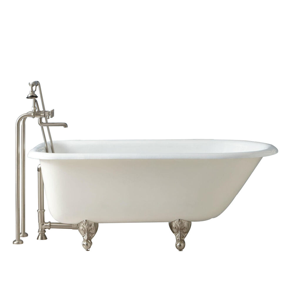 Naiture freestanding cast iron clawfoot tub in 4 length for Tub length