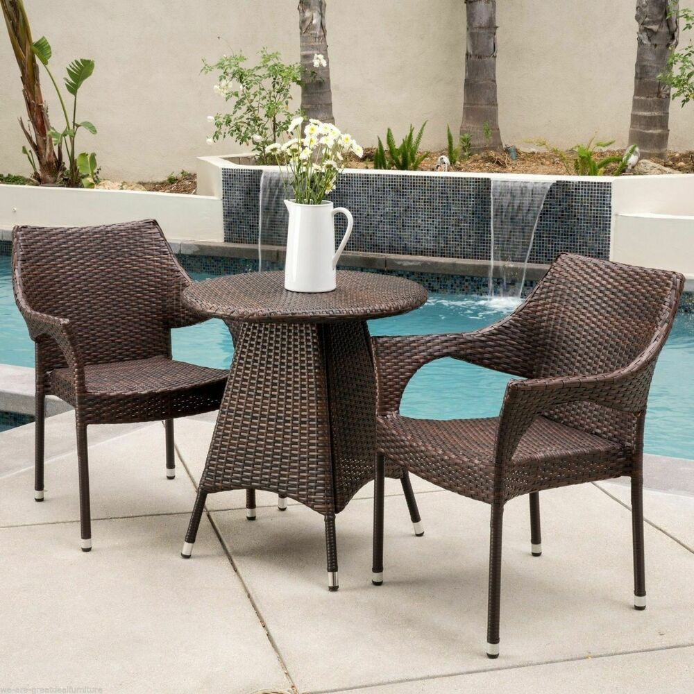 Outdoor Patio Furniture 7pc Multibrown All Weather Wicker: Outdoor Patio 3pc Multibrown All-Weather Wicker Bistro Set