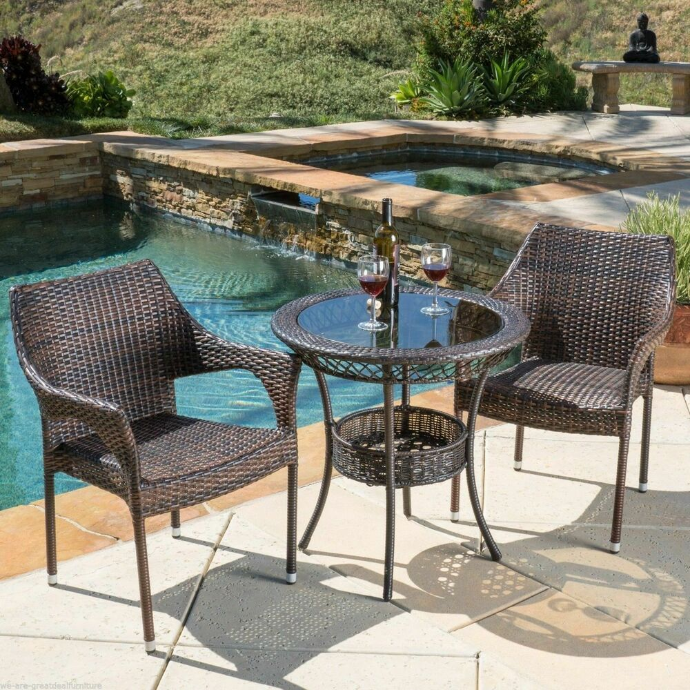 Outdoor Patio 3pc Multibrown All Weather Wicker Glass
