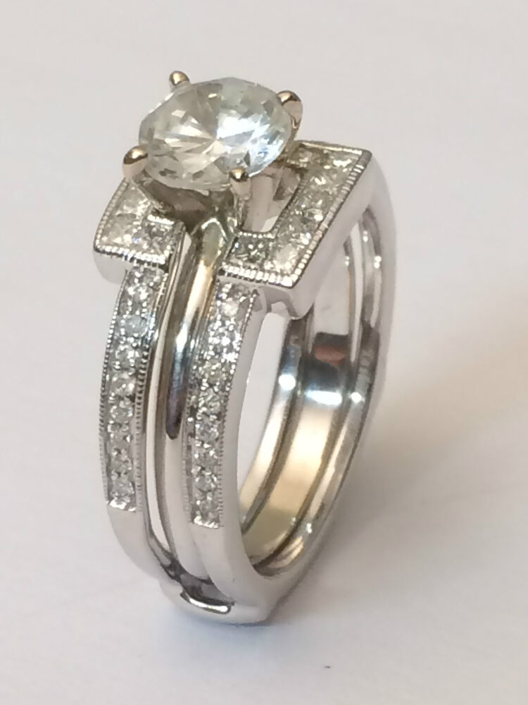 Princess Cut Diamonds Ring Guard Wrap 14k White Gold