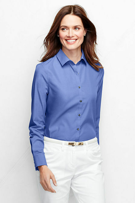 Lands end womens long sleeve supima ni shirt french blue for French cut shirt sleeve