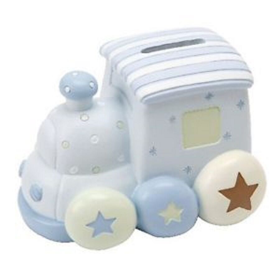 Baby boy 39 s blue resin train money box bank christening gifts baby gifts petit ch ebay - Coin banks for boys ...