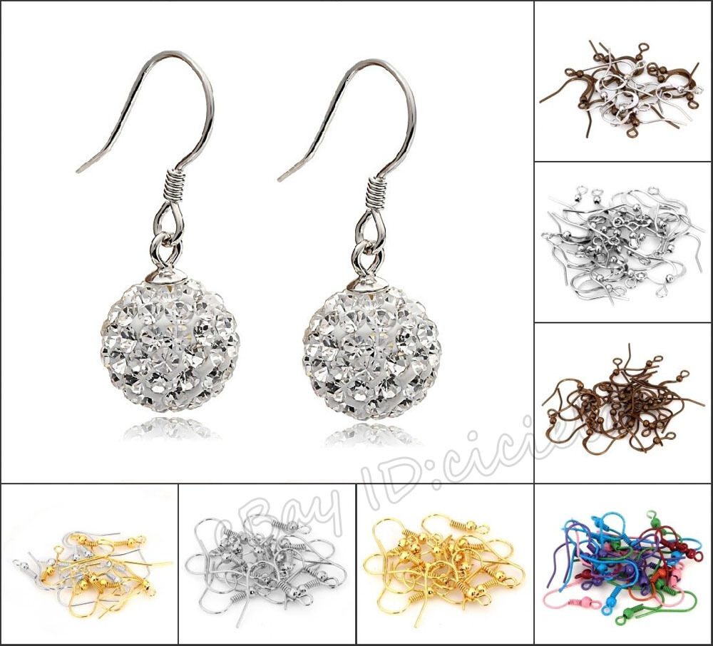 Lots 100 500pcs mixed coil wire earring hooks jewelry for Earring supplies for jewelry making