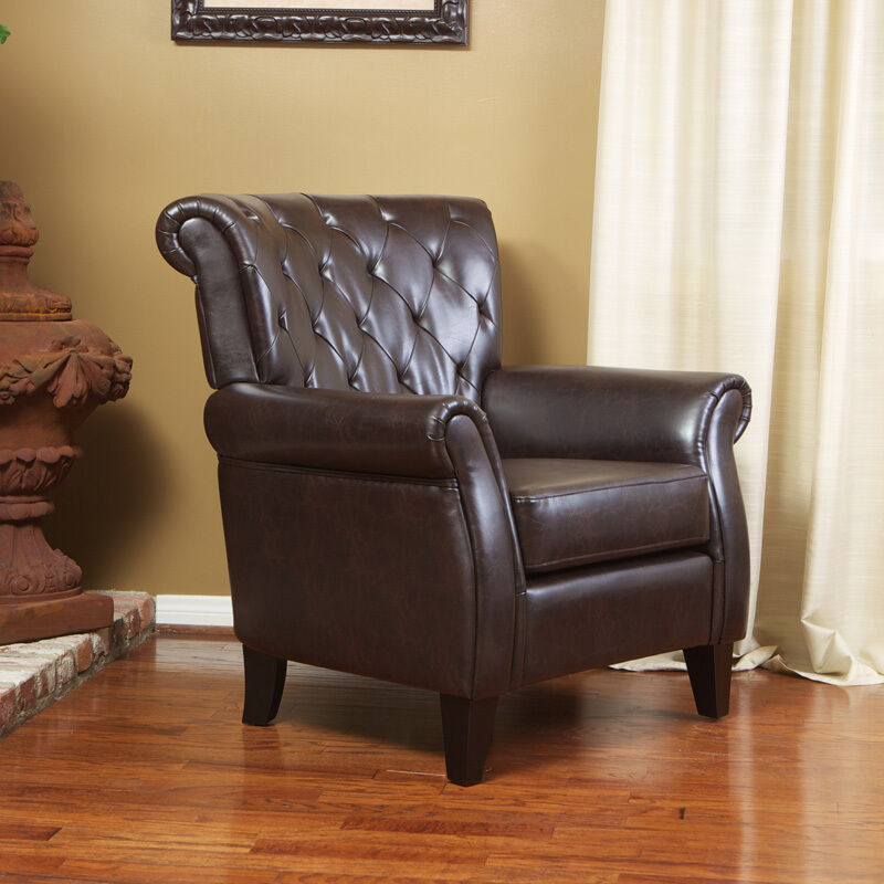 Living Room Furniture Large Gorgeous Brown Leather Club Chair EBay