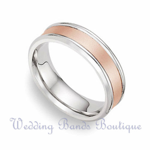 14k Two Tone Rose White Gold Wedding Band Mens Men Man