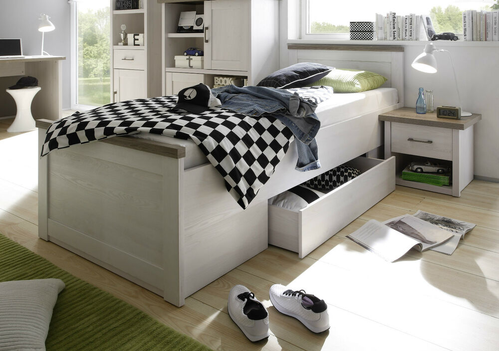 bett luca bettgestell 1 schubkasten einzelbett pinie wei 90x200 cm ebay. Black Bedroom Furniture Sets. Home Design Ideas