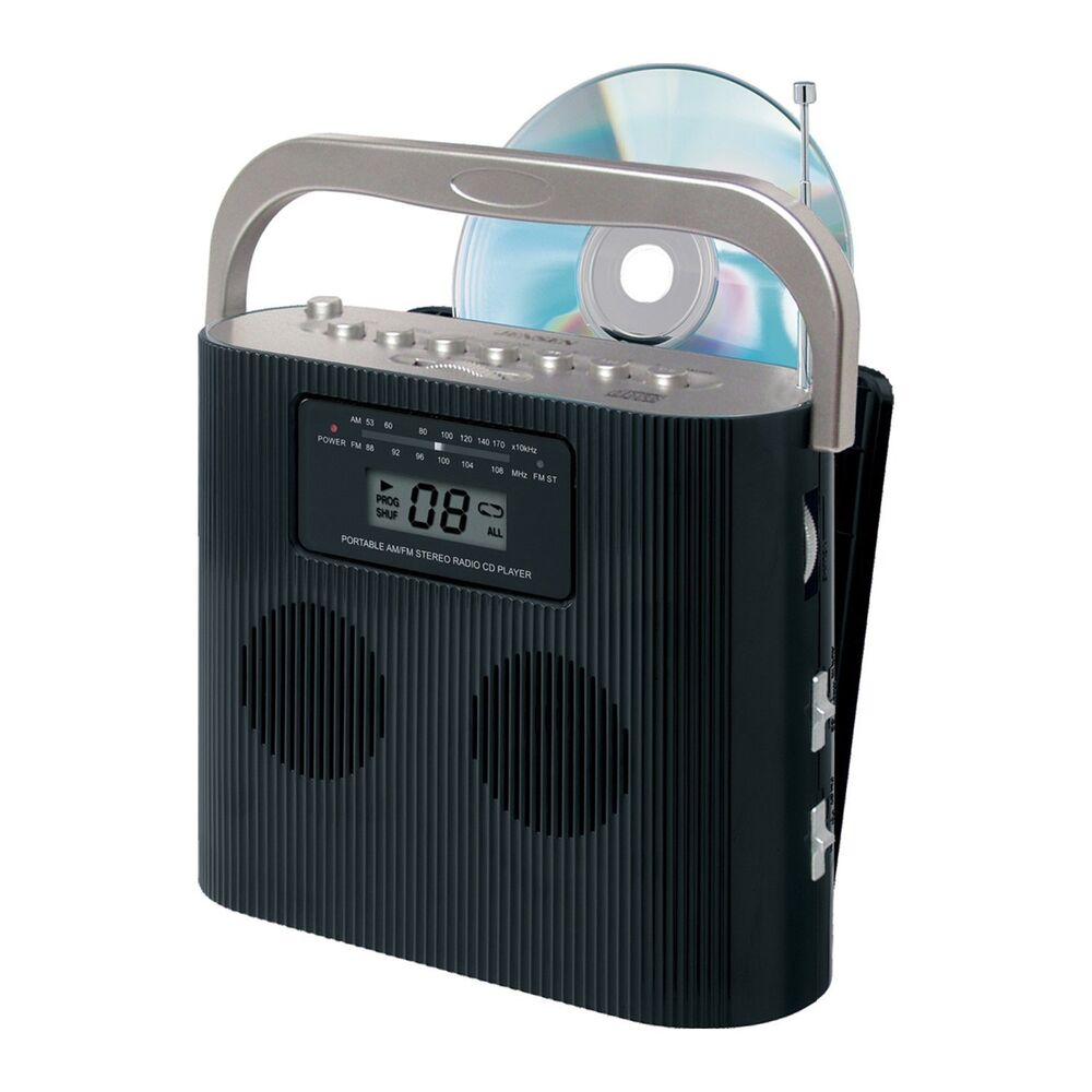 portable jensen cd 470bk stereo compact disc player w am fm radio aux in jack ebay. Black Bedroom Furniture Sets. Home Design Ideas