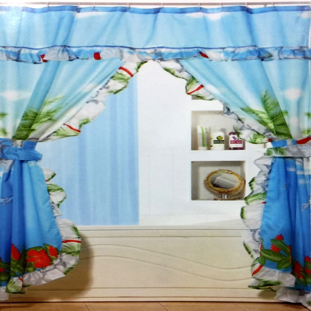 Shower Curtain Double Swag Design With P E V A Liner Ebay