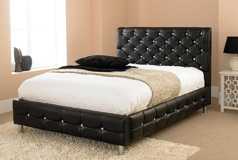 Cheap beds diamond crystal faux leather bed 3ft single for Cheap 4 foot divan beds