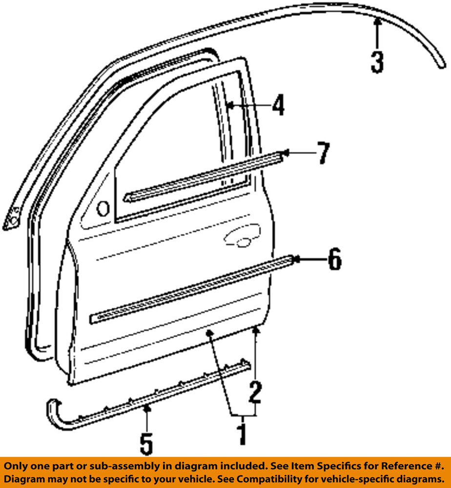 Ford oem front door window sweep belt molding weatherstrip Exterior door components