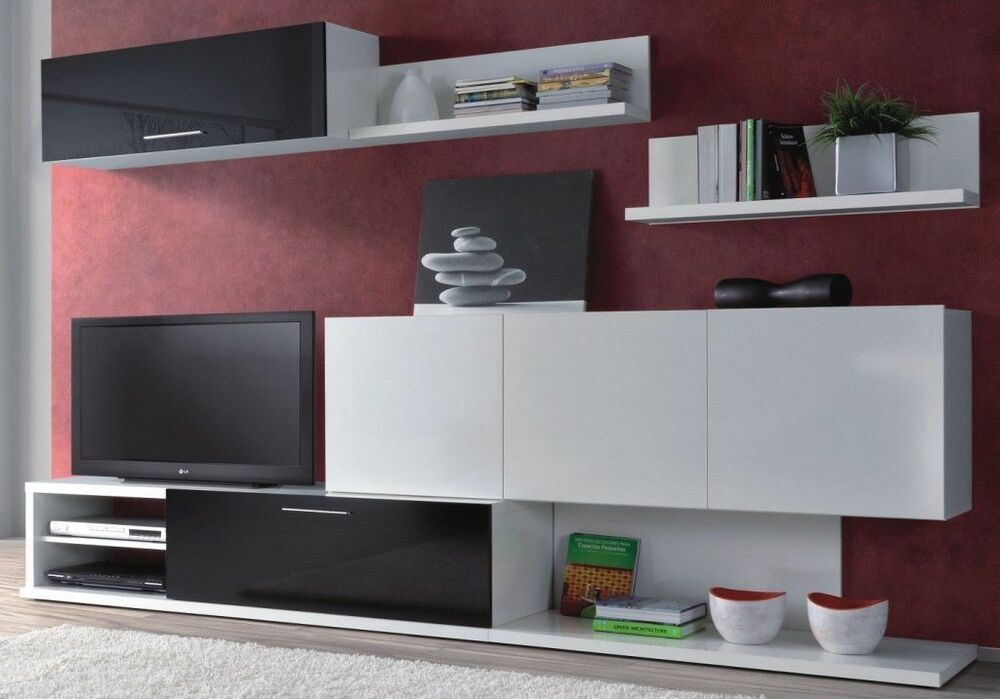 Lanza Tv Unit Living Room Furniture Set Media Wall Melamine Black And White Ebay
