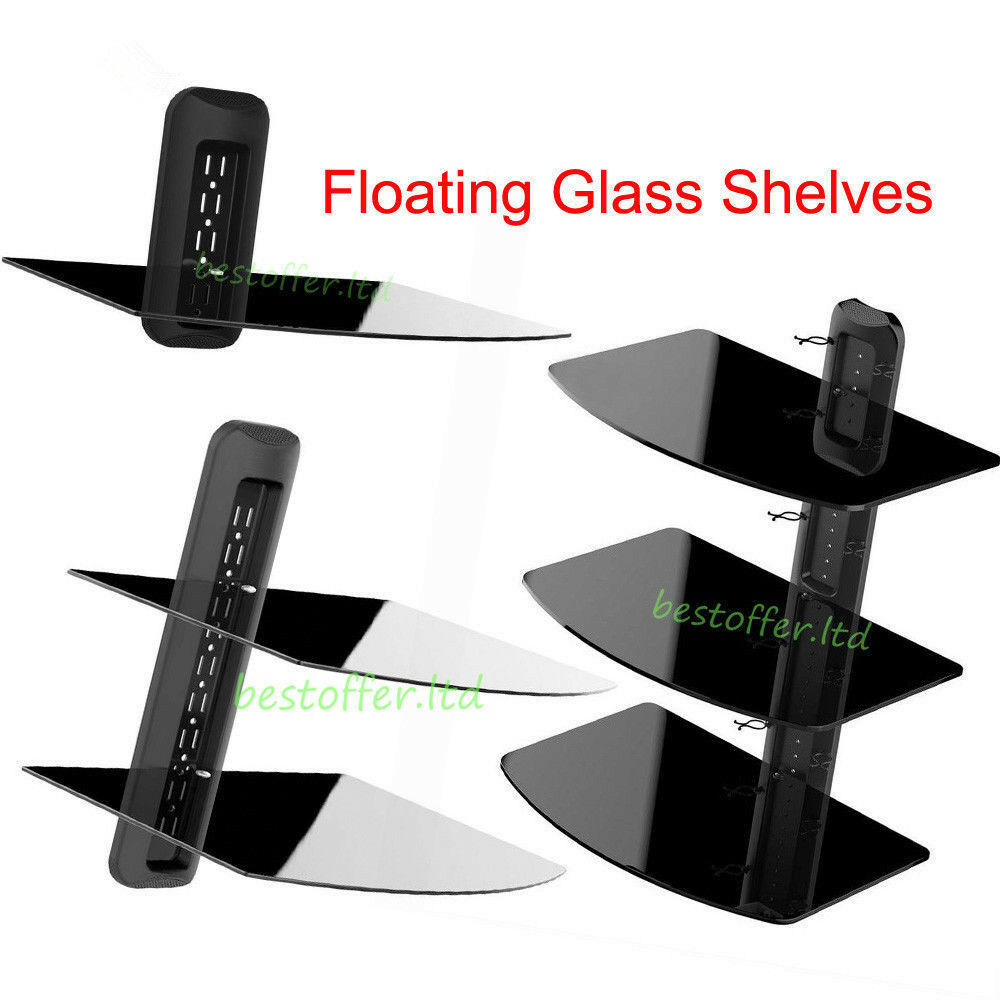 1 2 3 tier tv component glass stand wall shelf mount dvd Wall Shelves for TV Components tv component shelves for the wall