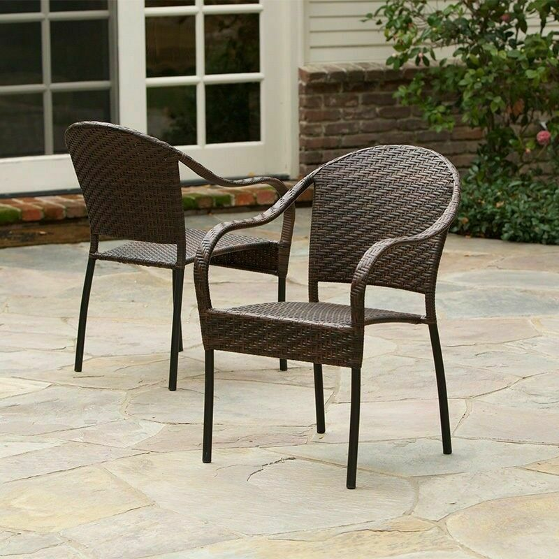 Set of 2 outdoor patio furniture all weather pe wicker for I furniture outdoor furniture