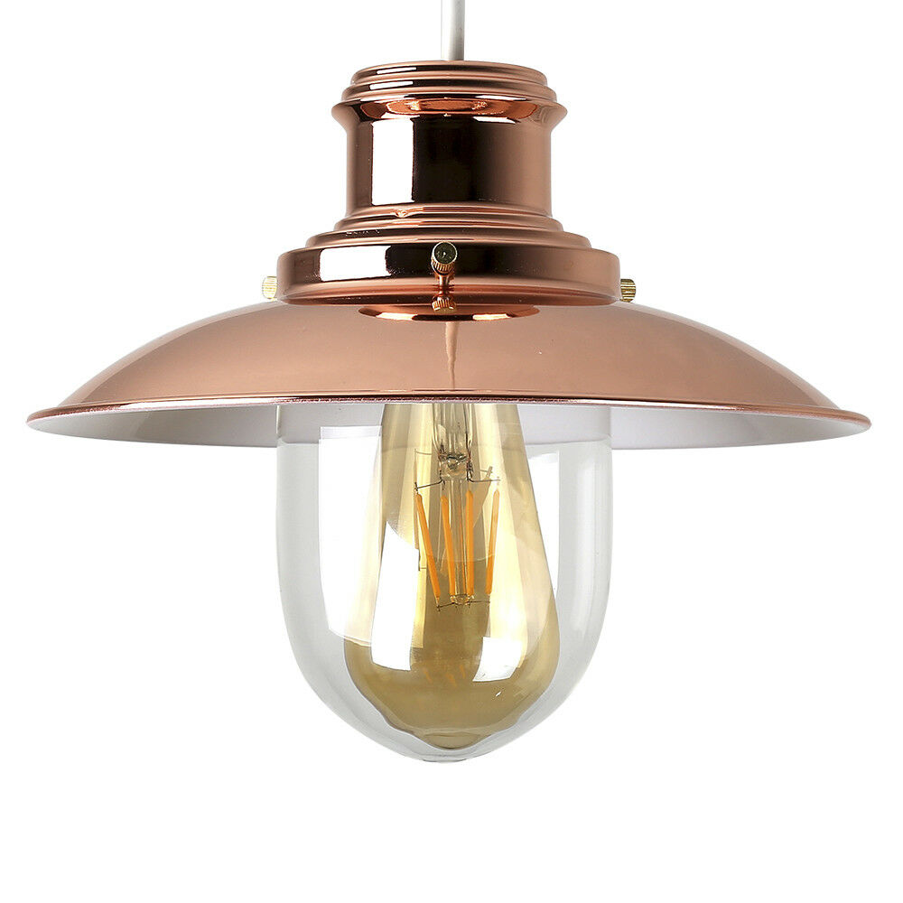 Copper + Glass Fishermans Ceiling Light Shade Industrial
