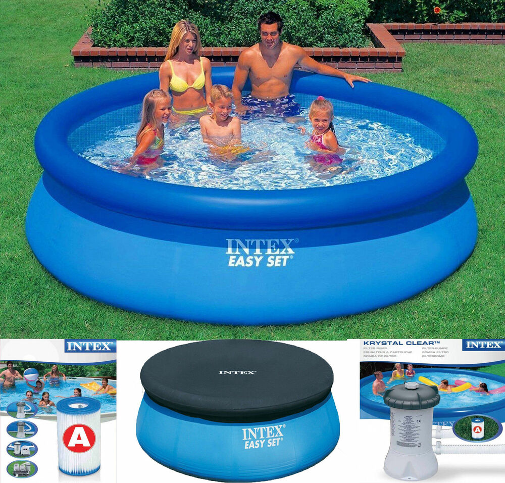 Intex Easy Set Inflatable Swimming Paddling Pool 6 8 10 Ft Pool Cover Pump Ebay