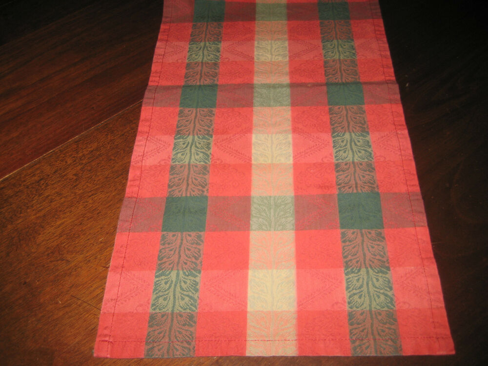 Extra Long Table Runner Checkerboard Pattern Red Green