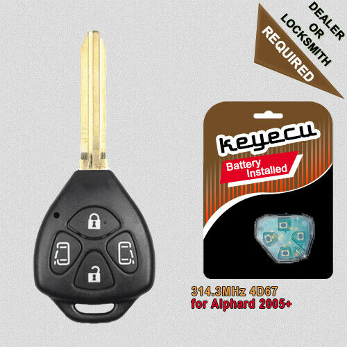 replacement remote key fob 4 button 314 3mhz 4d chip for toyota alphard 2005. Black Bedroom Furniture Sets. Home Design Ideas