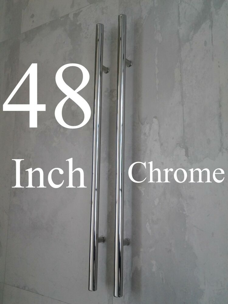 Entry Door Pull Handles 48 Quot Long Polished Chrome Front
