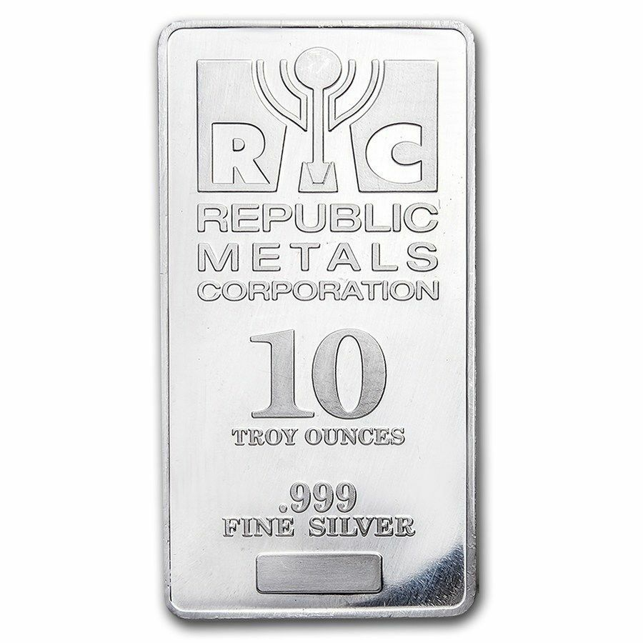 10 Oz Silver Bar 999 Fine Republic Metals Corporation