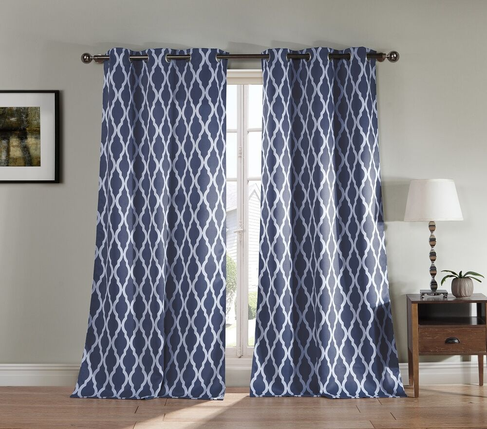 Pair of two blackout window panel curtains slate blue white trellis design ebay - Epic window treatment decoration with slate blue curtain ...