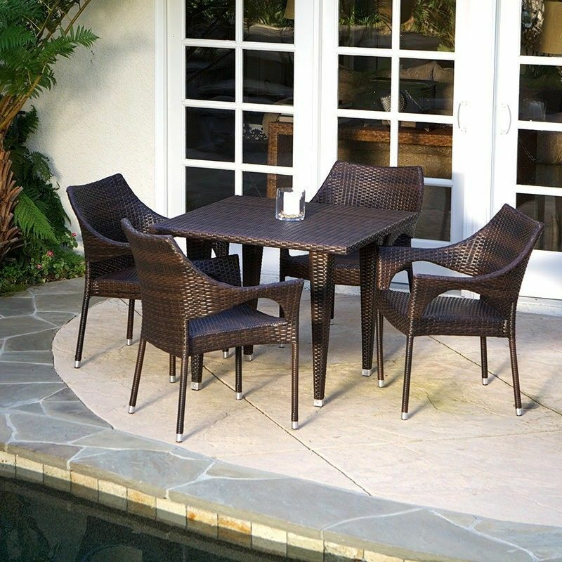Outdoor patio furniture elegant 5pcs brown all weather for All weather outdoor furniture