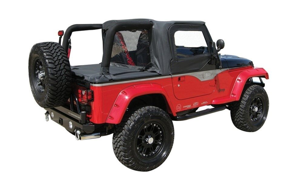 Jeep Wrangler Replacement Soft Top >> Rampage 993015 Black Cab Top & Tonneau Cover 1992-1995 ...