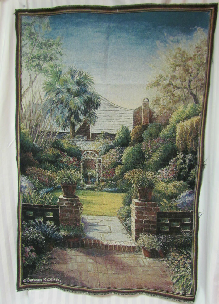 Flower garden landscape unfinished tapestry fabric wall - Watch over the garden wall online free ...