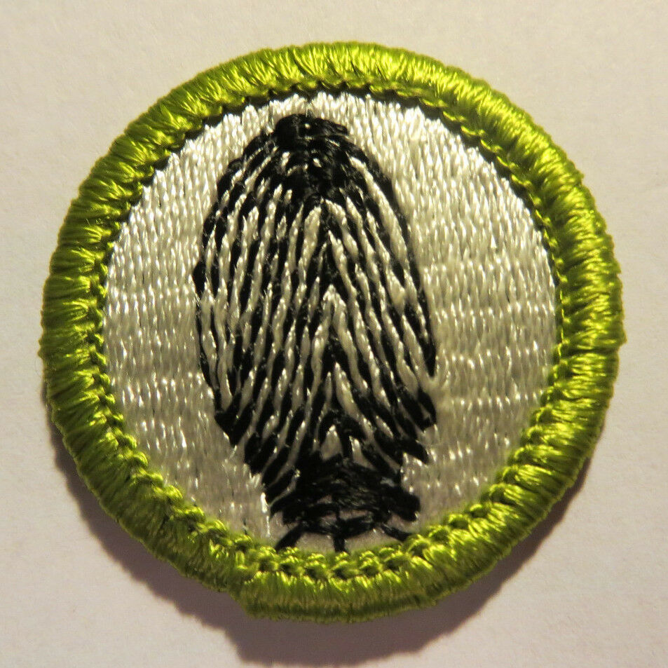Boy Scout Merit Badge Type H Plastic Back Fingerprinting RARE Blue
