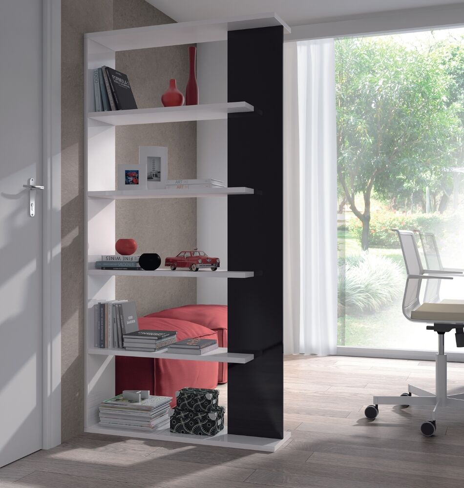 aida living room 5 tier bookcase room divider display unit white with black ebay. Black Bedroom Furniture Sets. Home Design Ideas
