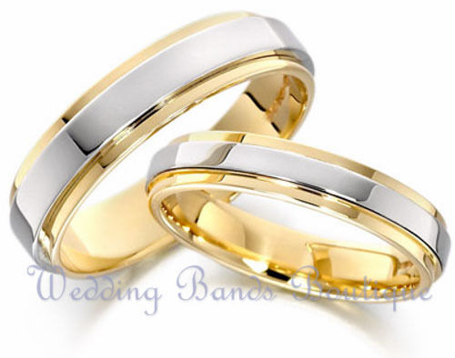 10K WHITE YELLOW GOLD HIS & HERS MATCHING WEDDING BANDS