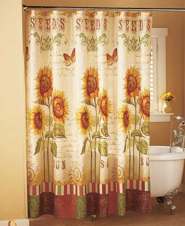 Elegant Bathroom Curtain Sets: Sunflower Shower Curtain Sunflower Bathroom Collection