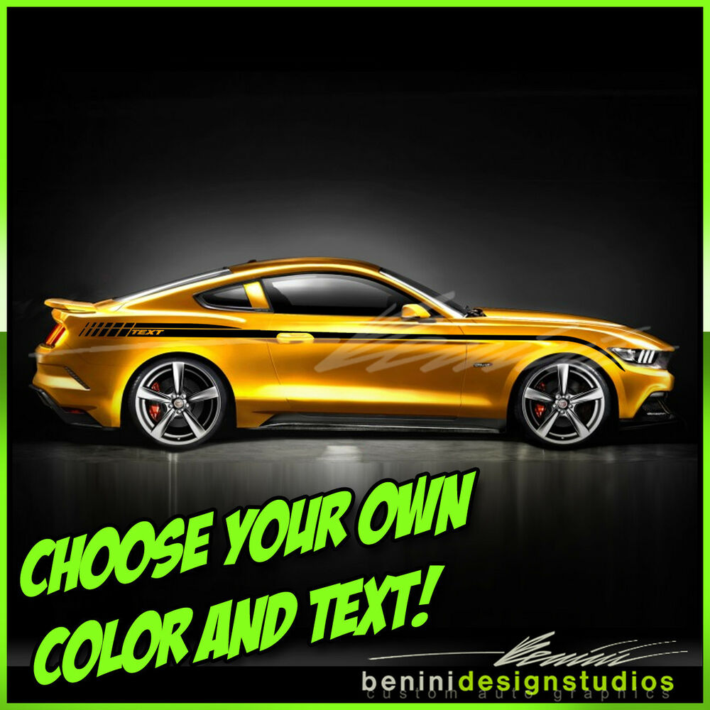 2015 and up ford mustang custom side stripe decals gt style 1 ebay. Black Bedroom Furniture Sets. Home Design Ideas