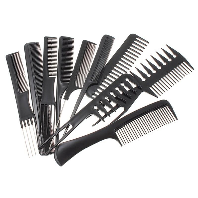 hair style brush 10 hair styling comb set professional black 3494