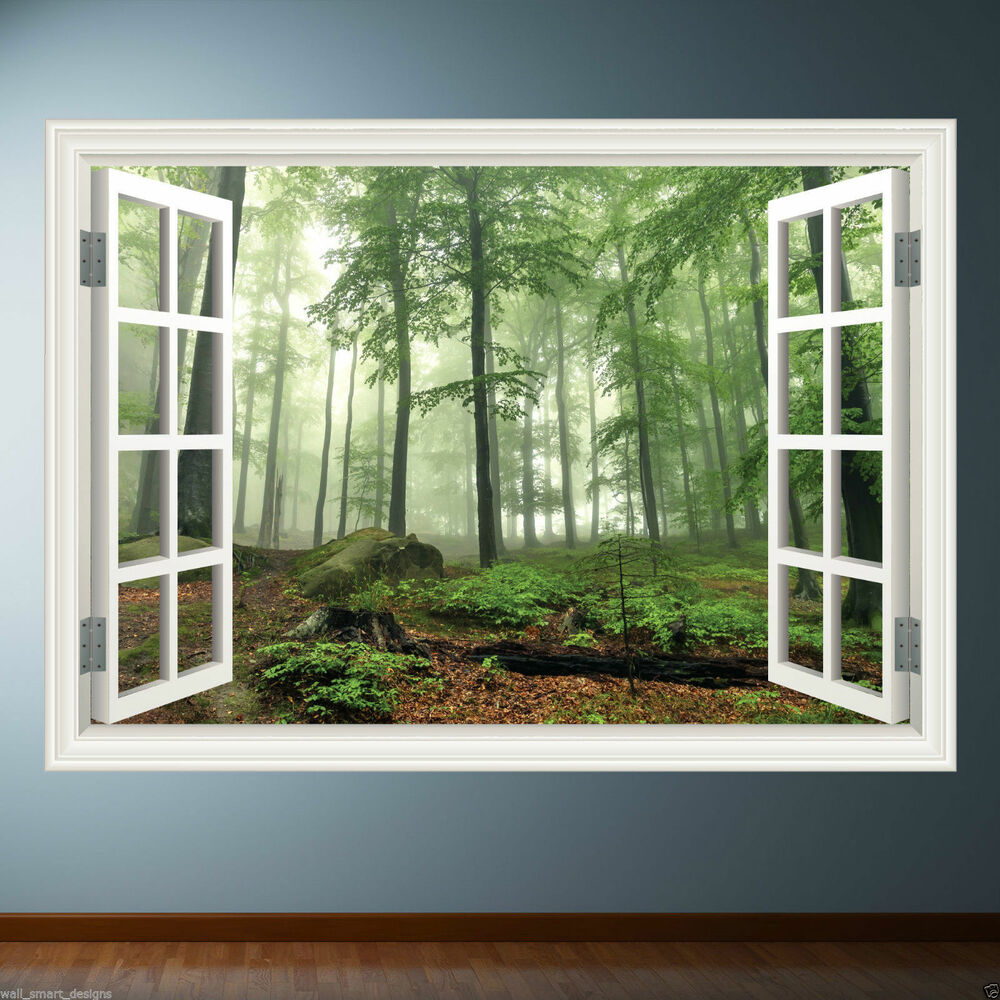 Window frame full colour forest wall sticker decal for Window wall