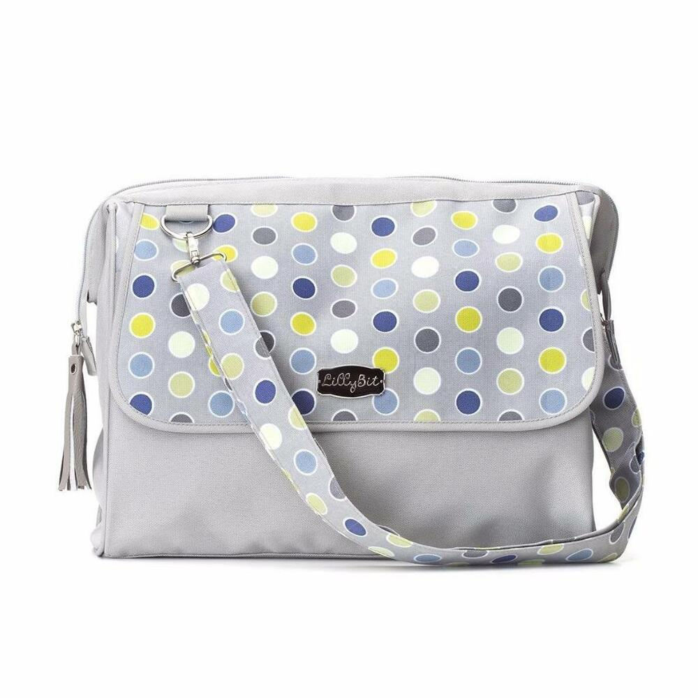 lillybit polka dot baby diaper bag travel doctor dr shoulder purse changing pad ebay. Black Bedroom Furniture Sets. Home Design Ideas