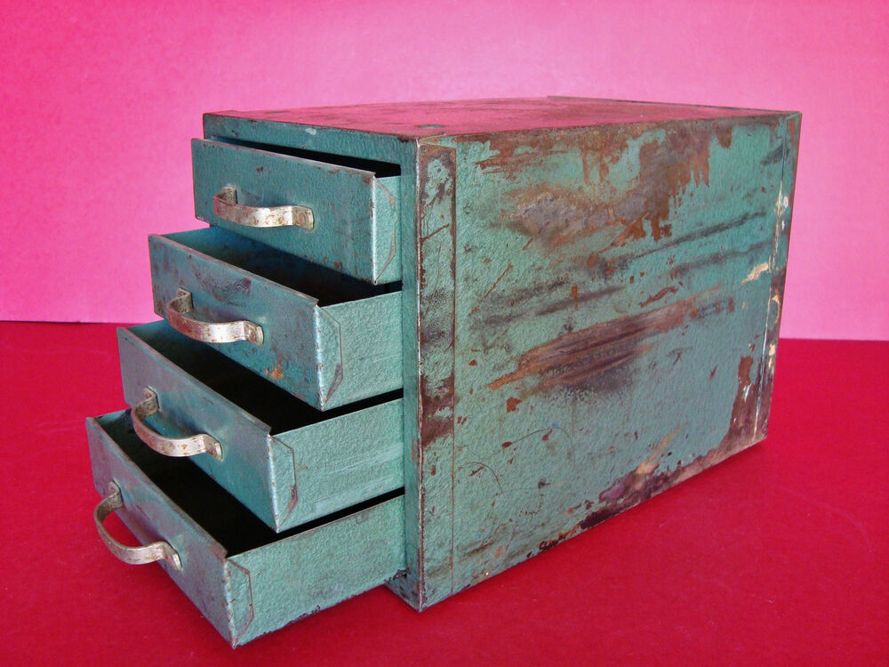 Vintage metal 4 drawer small parts micro cabinet tool for Utensil organizer for small drawers