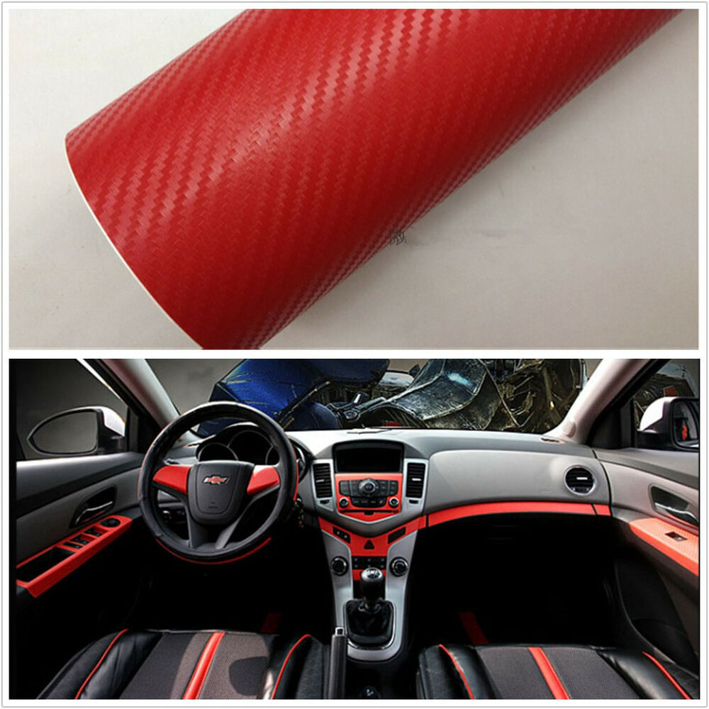 suv exterior interior trim carbon fiber red vinyl sheet film decal sticker diy ebay. Black Bedroom Furniture Sets. Home Design Ideas