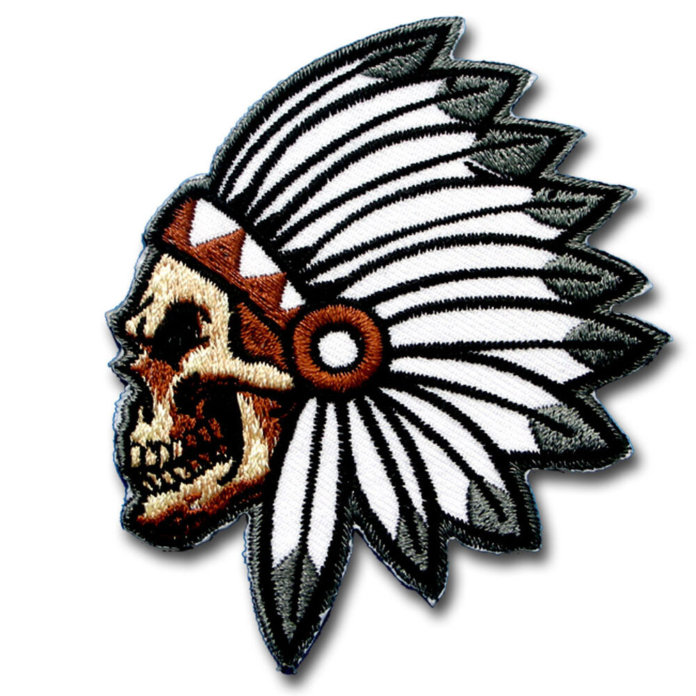 Skull indian chief head patch iron harley biker motorcycle for Indian motorcycle tattoo