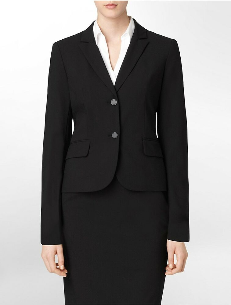 Calvin Klein Womens Two Button Black Suit Jacket | EBay