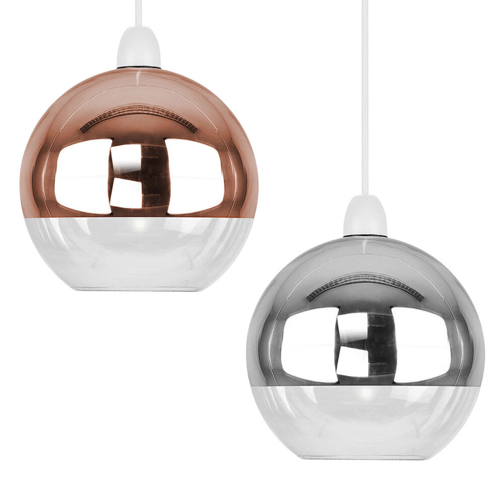 modern metallic copper chrome glass globe ceiling pendant light lamp