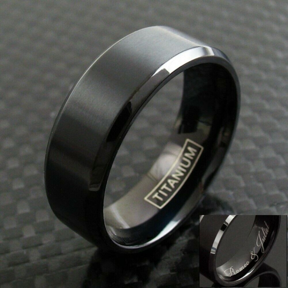 Black titanium men39s brushed finish stripe wedding band for Wedding ring black titanium